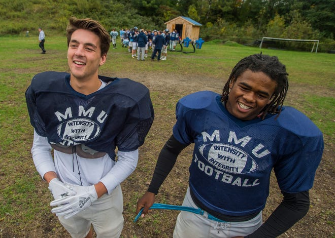 Since second grade, Harrison Leombruno-Nicholson (left) and Jehric Hackney have been best friends and, as it turns out, were both born in the same hospital room at UVM Medical Center in Burlington. Now, they share the field on MMU's football team in Jericho.