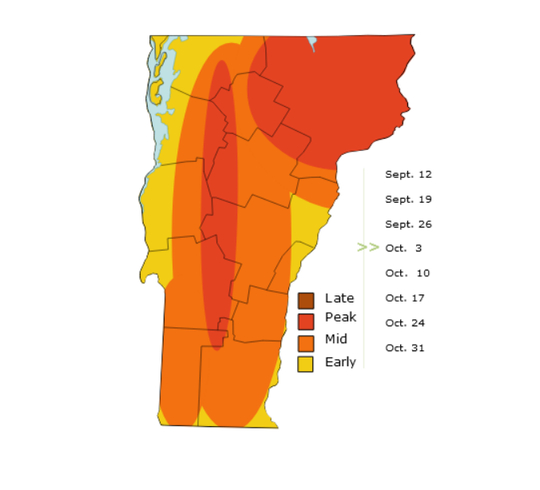 Ballpark guess: Arrival of peak color (darker colors) is shown as arriving in Vermont's northeast, and at higher elevations during the week of Oct. 3 in this screen-grab from an animated illustration of foliage-change patterns. The map was created by the Vermont Department of Forests, Parks and Recreation — and is not meant to serve as a precise indicator.