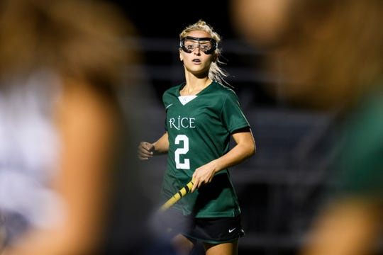 Rice's Lisa McNamara (2) watches the action during the field hockey game between the Rice Green Knights and the Burlington Seahorses at Buck Hard Field on Friday night September 28, 2018 in Burlington.