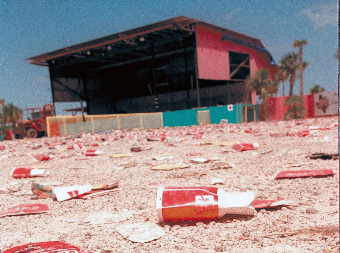 Texas Sky Festival Park is awash with trash Aug. 4, 1997 a day after Lollapalooza.