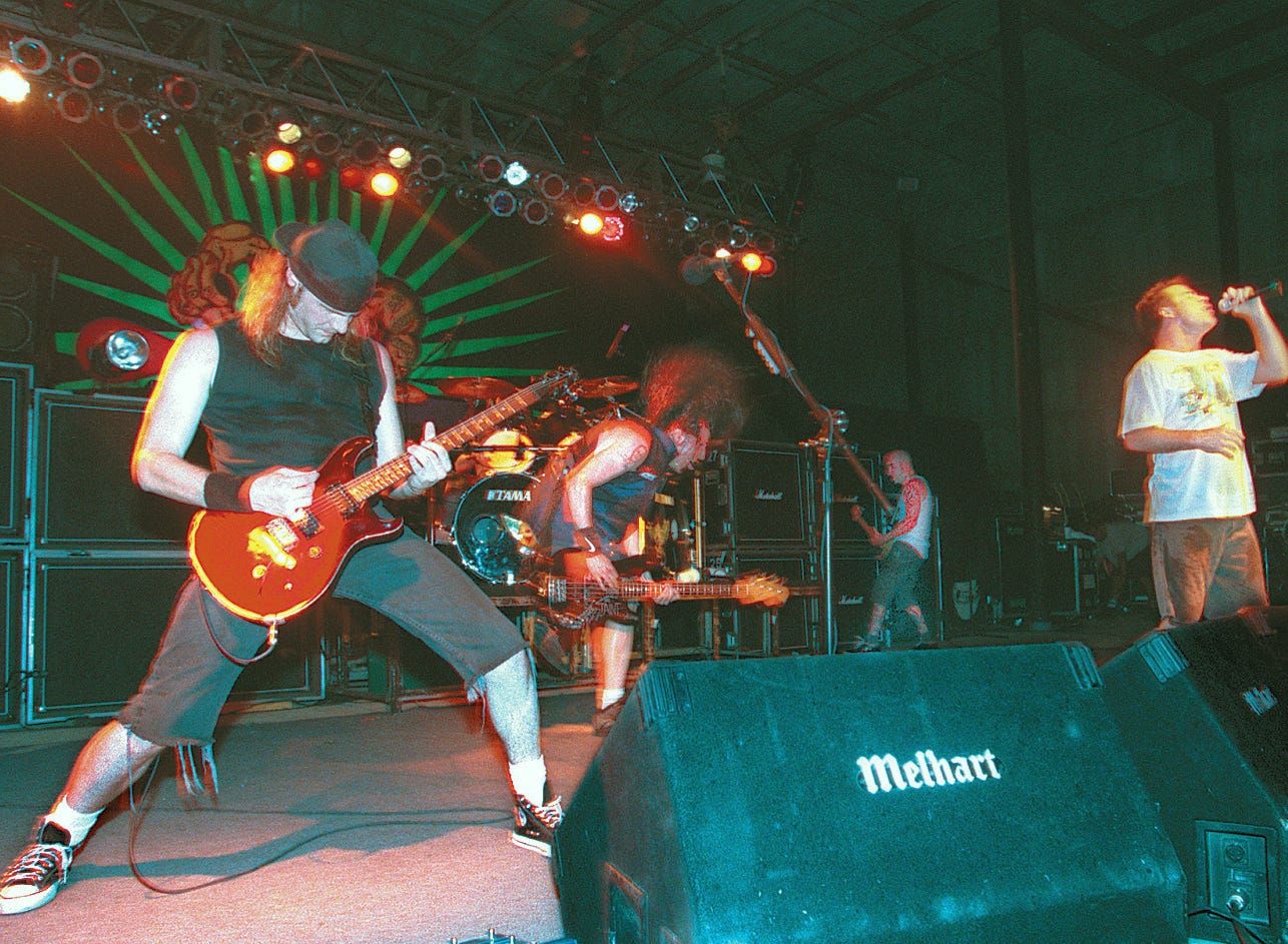 Anthrax jams at Texas Sky Festival Park in Corpus Christi on June 12, 1996.