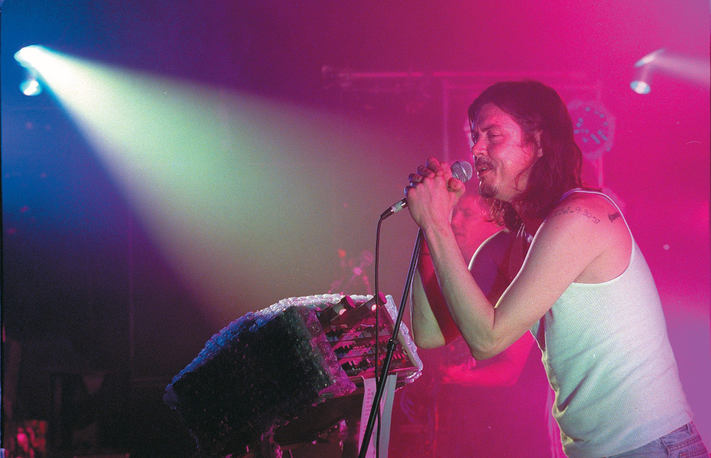 Butthole Surfers' lead singer belts out a song during the Butthole Surfers' concert at Texas Sky Festival Park in Corpus Christi on July 6, 1996.Photo by David Pellerin 7-6-96