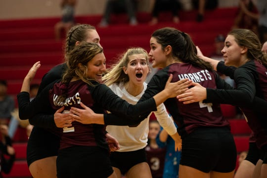 Flour Bluff defeats Gregory-Portland in five sets at Gregory-Portland High School on Tuesday, Oct. 2, 2018.