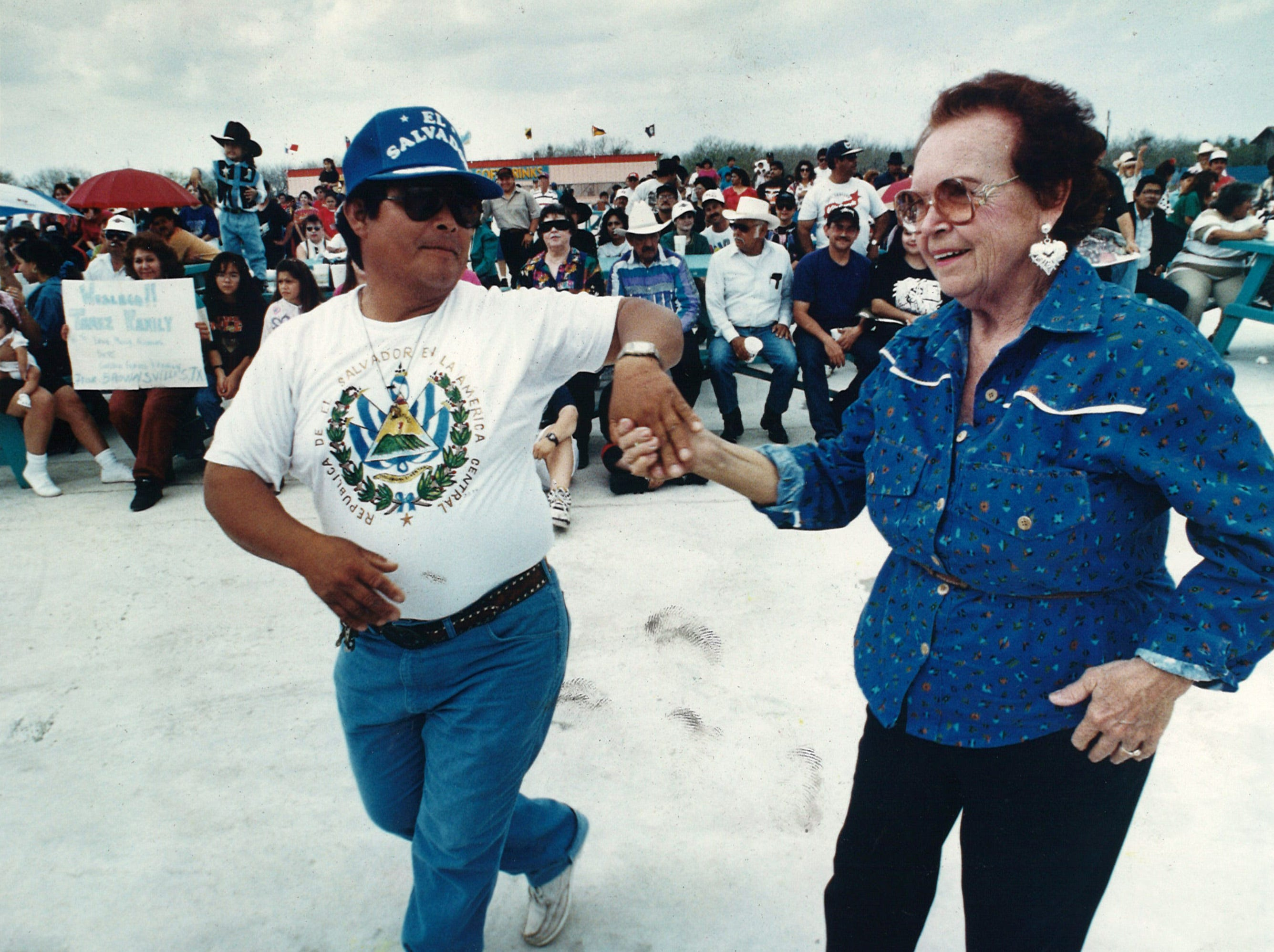 "Adults and children alike danced to the music being played on the Johnny Canales International Show ""sneak preview"" concert at Johnnyland on Jurica Road in Corpus Christi on March 6, 1994. Jose Ortiz, left, and Gracie Laferney, danced together at the event."