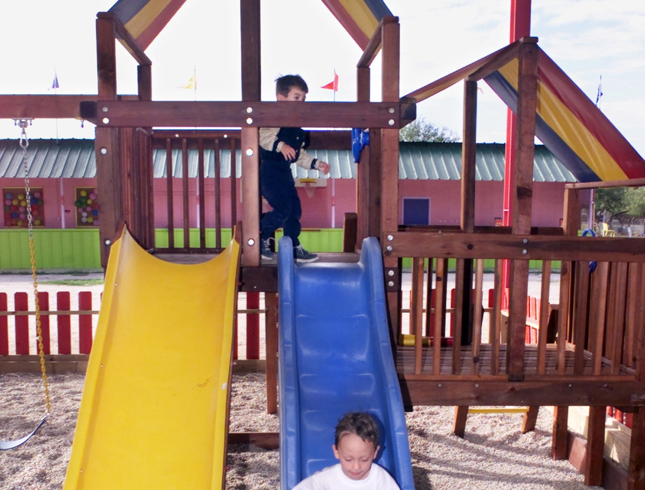 At the children's playground inside Texas Sky Festival Park are (left) Austin Anthony Perez, 4 and (right) Tristan Joseph Huerta, also 4 in October 2000.