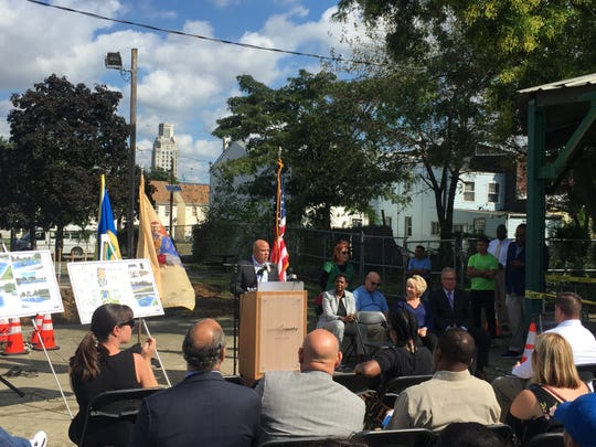 Mayor Frank Moran talks about the role of safe, clean parks in Camden's revitalization. Officials broke ground on a rehab project for a park at 4th and Clinton streets Wednesday.
