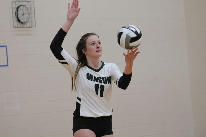 Senior Kayla Ringwald serves it up for Mason Tuesday