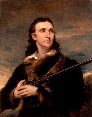 """Naturalist John James Audubon holds what might be """"Long Tom,"""" his favorite hunting rifle, which he used to hunt specimens for """"The Birds of America."""""""
