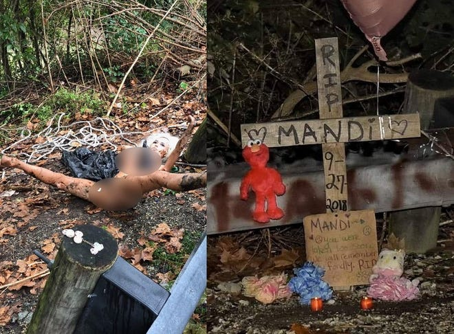 A faux memorial pays tribute to a sex doll initially mistaken for a dead body in Colerain Township.