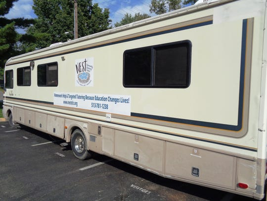 The 30-foot-long NEST mobile Community Learning Center is the afterschool study home for many Loveland students in need.