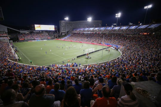 FC Cincinnati fans set a new midweek-game attendance record with 25,251 during a USL match between Charlotte Independence and FC Cincinnati, Wednesday, July 18, 2018, at Nippert Stadium in Cincinnati. FC Cincinnati won 2-0.