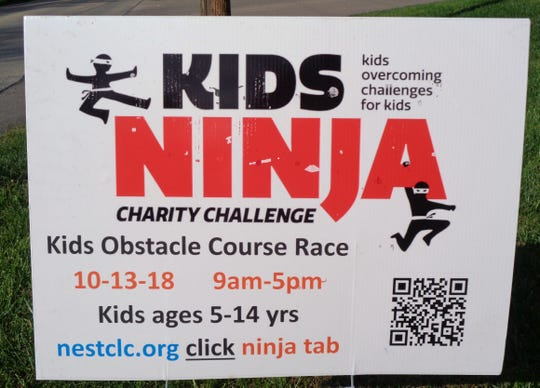 Kids Ninja signs are popping up all around Loveland announcing the Saturday, Oct. 13, charity Ninja race to benefit NEST Community Learning Center