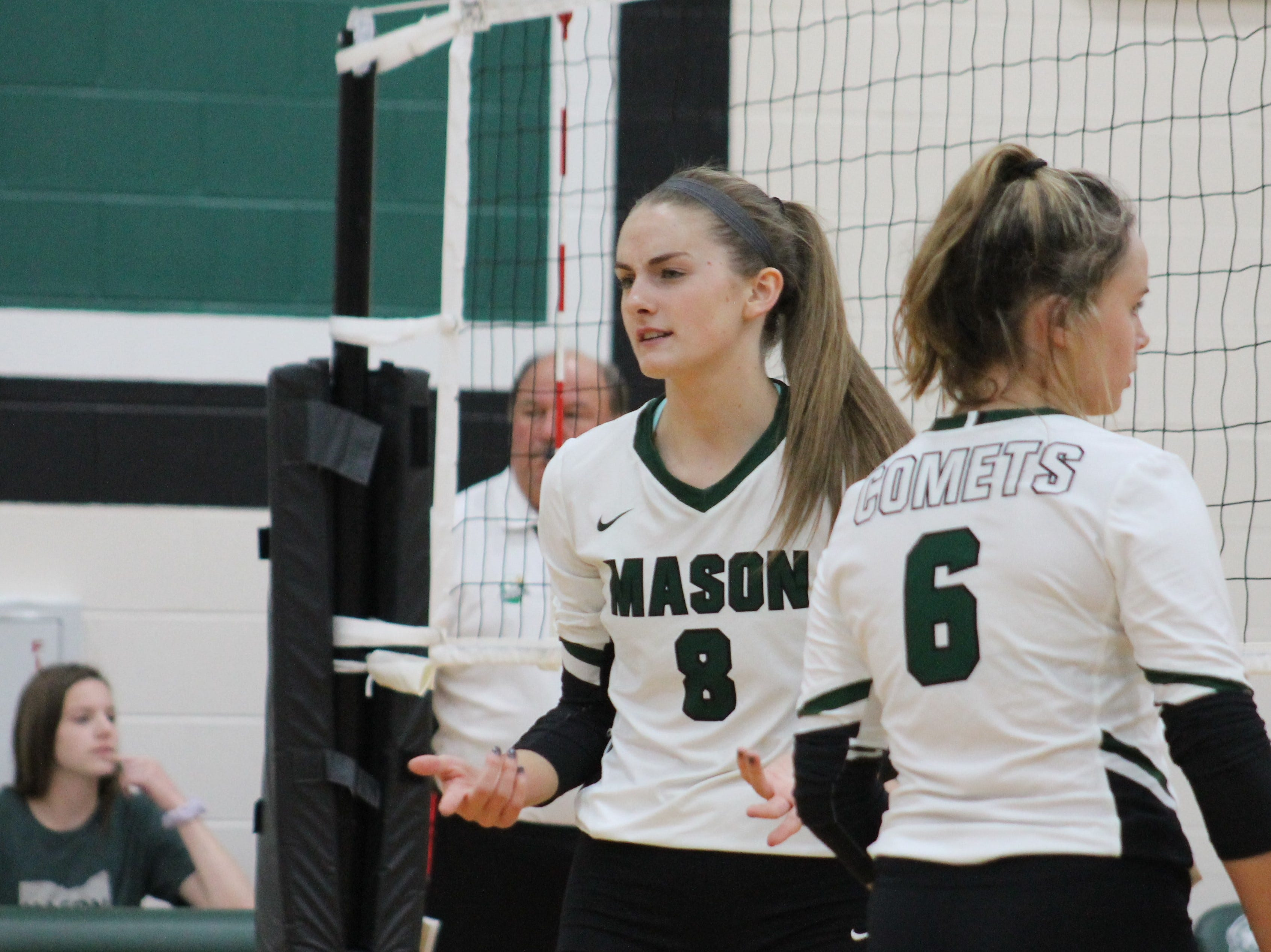 Maggie King and Megan Elko are ready to deal on the front line for Mason