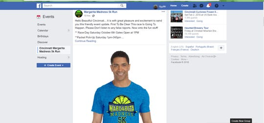 Screenshot of Margarita Madness 5K Facebook post.