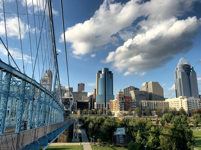 A view of the Cincinnati skyline from the Roebling Suspension Bridge Wednesday, October 3, 2018.