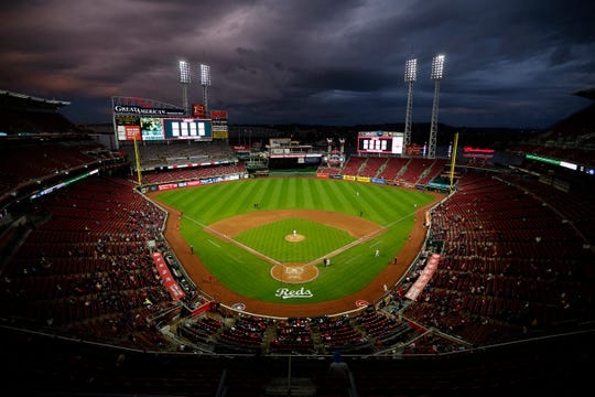 The ballpark remains mostly empty in the top of the sixth inning of the MLB National League game between the Cincinnati Reds and the Atlanta Braves at Great American Ball Park in downtown Cincinnati on Monday, April 23, 2018. After six innings the Reds led 7-2.