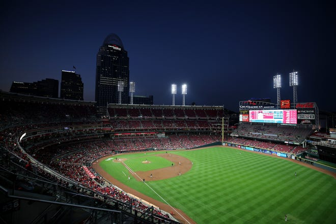 General view of Great American Ball Park in the third inning during a baseball game between the Pittsburgh Pirates and the Cincinnati Reds, Friday, Sept. 28, 2018, in Cincinnati.