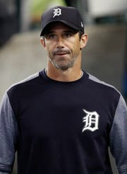 Sep 15, 2017; Detroit, MI, USA; Detroit Tigers manager Brad Ausmus (7) walks in the dugout after making a pitching change during the eighth inning against the Chicago White Sox at Comerica Park. Mandatory Credit: Raj Mehta-USA TODAY Sports