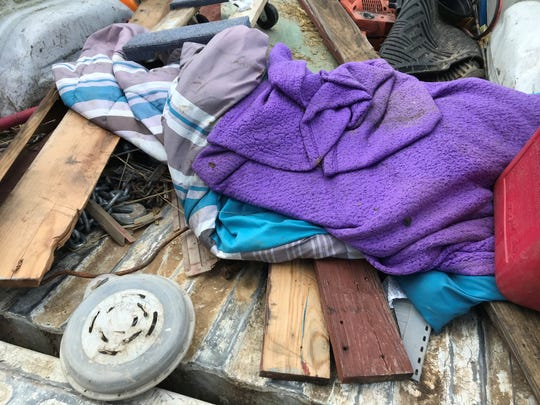 The sleeping bag and blankets found Wednesday on the property of Stan Hembree in Woodlawn.
