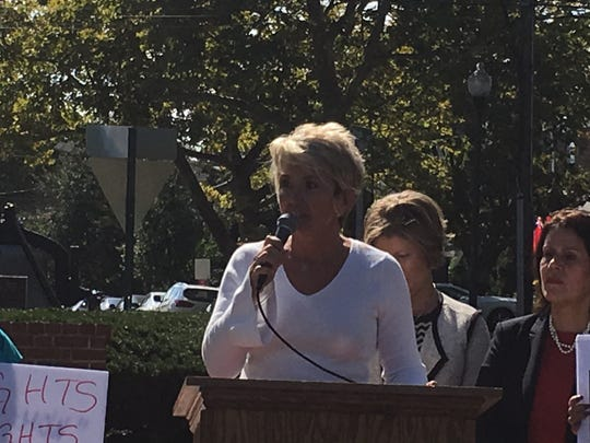 Janice Kovach , Town of Clinton mayor speaks during a news conference arranged by Perth Amboy Mayor Wilda Diaz at City Hall Circle.