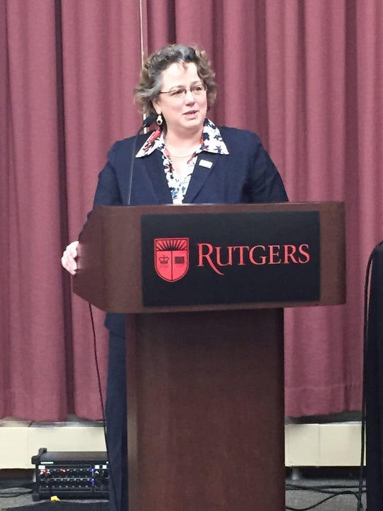 U.S. Postal Service Chief Information Officer/ Executive Vice President Kristin Seaver talks innovation at the Greater NJ PCC Week Meeting at Rutgers.