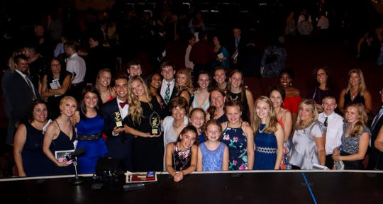 Cast, crew and proud parents were on hand to celebrate with Perry Award winners Jonah Lione, of Clinton, and Natalie Mehl, of Lebanon Twp. The pair earned top acting honors for their performances as Bert and Mary in SKIT's production of Mary Poppins. NJACT reviews more than 200 productions throughout New Jersey for its annual awards. SKIT earned a total of seven nominations this year, including its talented pair of Perry winners.