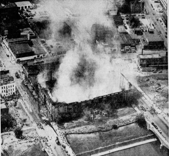From 1949: This aerial photo taken from the Des Moines Register's airplane shows the smoking ruins of the Des Moines Coliseum after it was destroyed by fire Aug. 13, 1949.