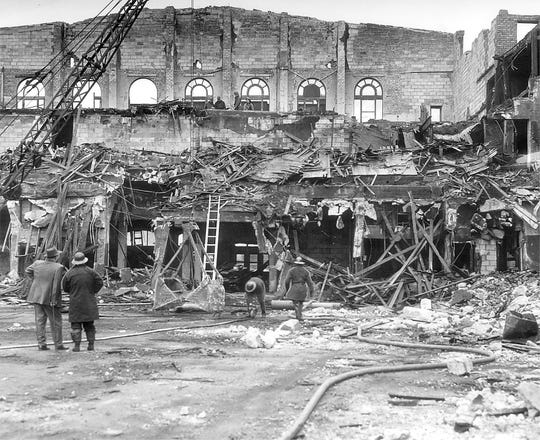 The Des Moines Coliseum was destroyed by fire on Aug. 13, 1949. The three-alarm fire was fought by every firefighter who could be called to duty. An estimated 10,000 people watched the building burn.