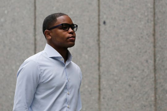 Former sports agent Christian Dawkins arrives at federal court Oct. 1, 2018, in New York, as jury selection begins in his trial. Dawkins has pleaded not guilty to charges he plotted to pay Brian Bowen Sr. $100,000 in exchange for his son, Brian Bowen Jr.'s, committment to Louisville for basketball.
