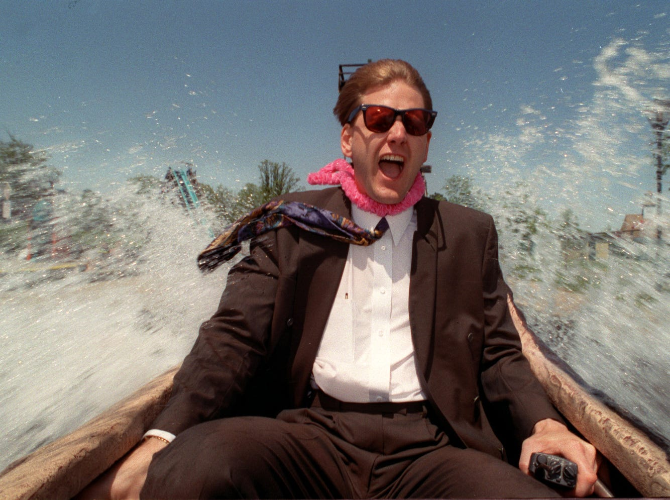 Michael Moodenbaugh, owner of BobLo Island amusement park, rides the Log Flume ride on May 15th 1993.