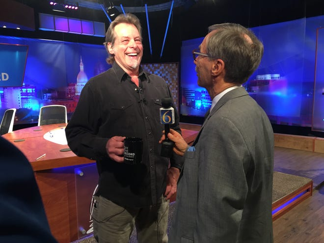 "Rocker Ted Nugent in October after morning taping of WKAR-TV's ""Off the Record,"" with host Tim Skubick."