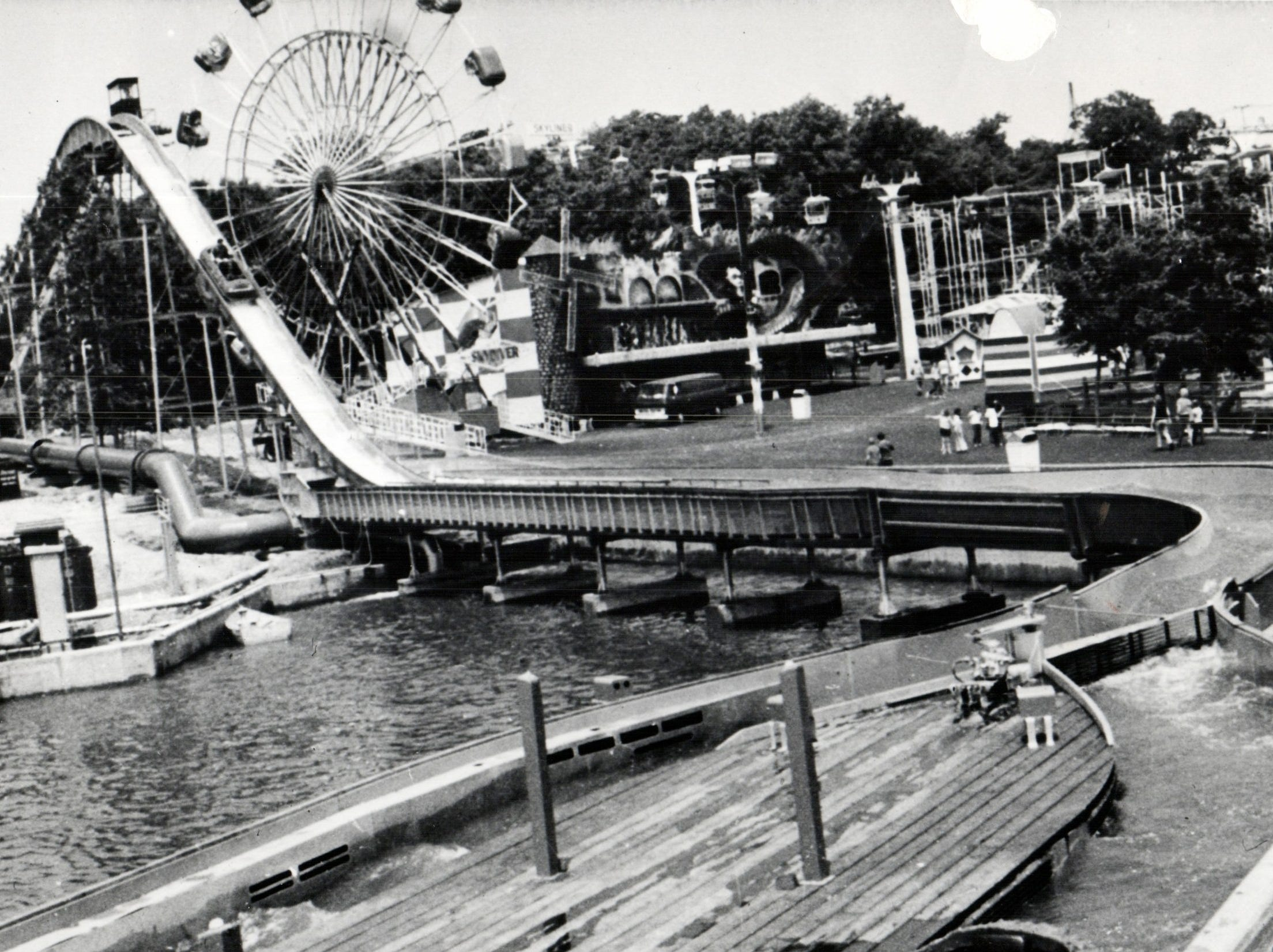 Log flume ride, Enterprise and other rides on Boblo Island.