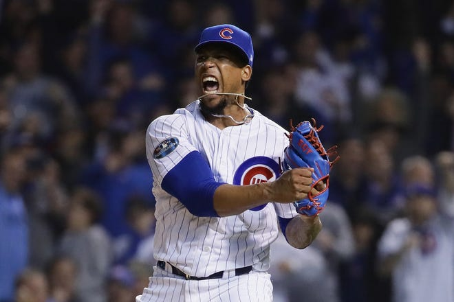 Pedro Strop of the Chicago Cubs reacts after striking out a Colorado Rockies batter in the ninth inning during the NL Wild Card Game at Wrigley Field on Oct. 2, 2018 in Chicago.