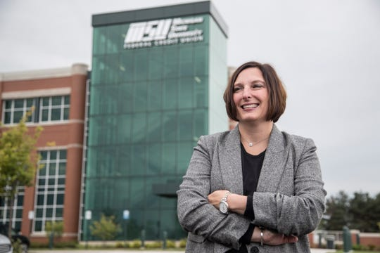 April Clobes, president and CEO of the Michigan State University Federal Credit Union in East Lansing, Friday, September 28, 2018.