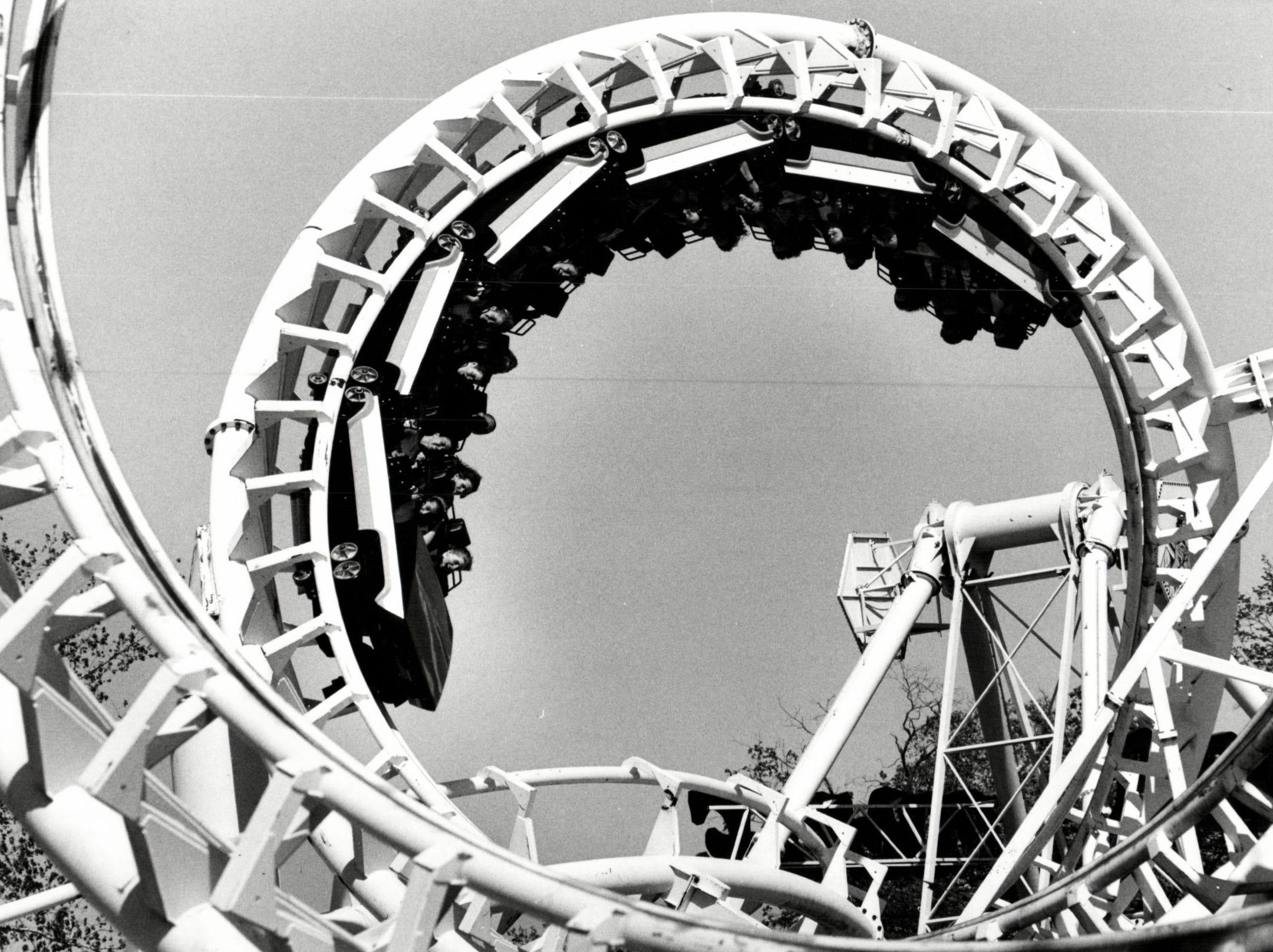 Riders enjoy the corkscrew roller coaster on Boblo Island