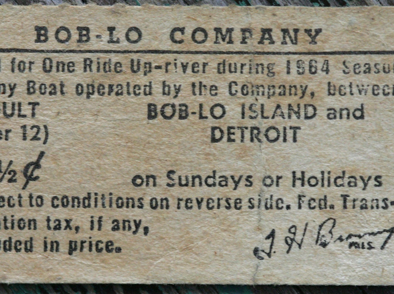 An 87 1/2 cent ticket for a one-way ride up the Detroit River between Bob-Lo Island and Detroit during the 1964 season.