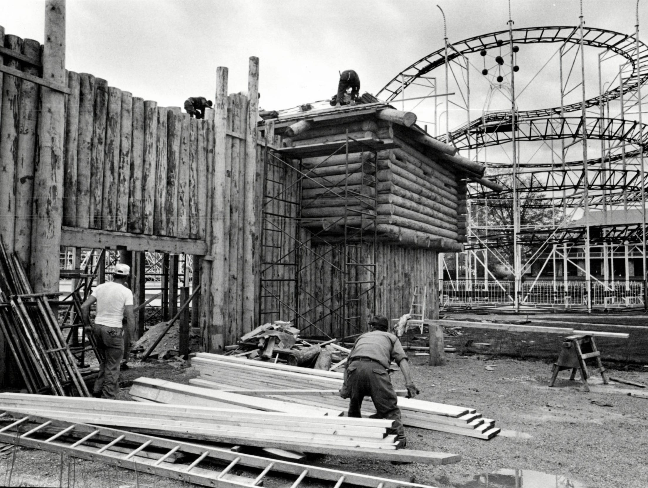 Workers get the area known as Fort Fun on Boblo Island ready for opening day.