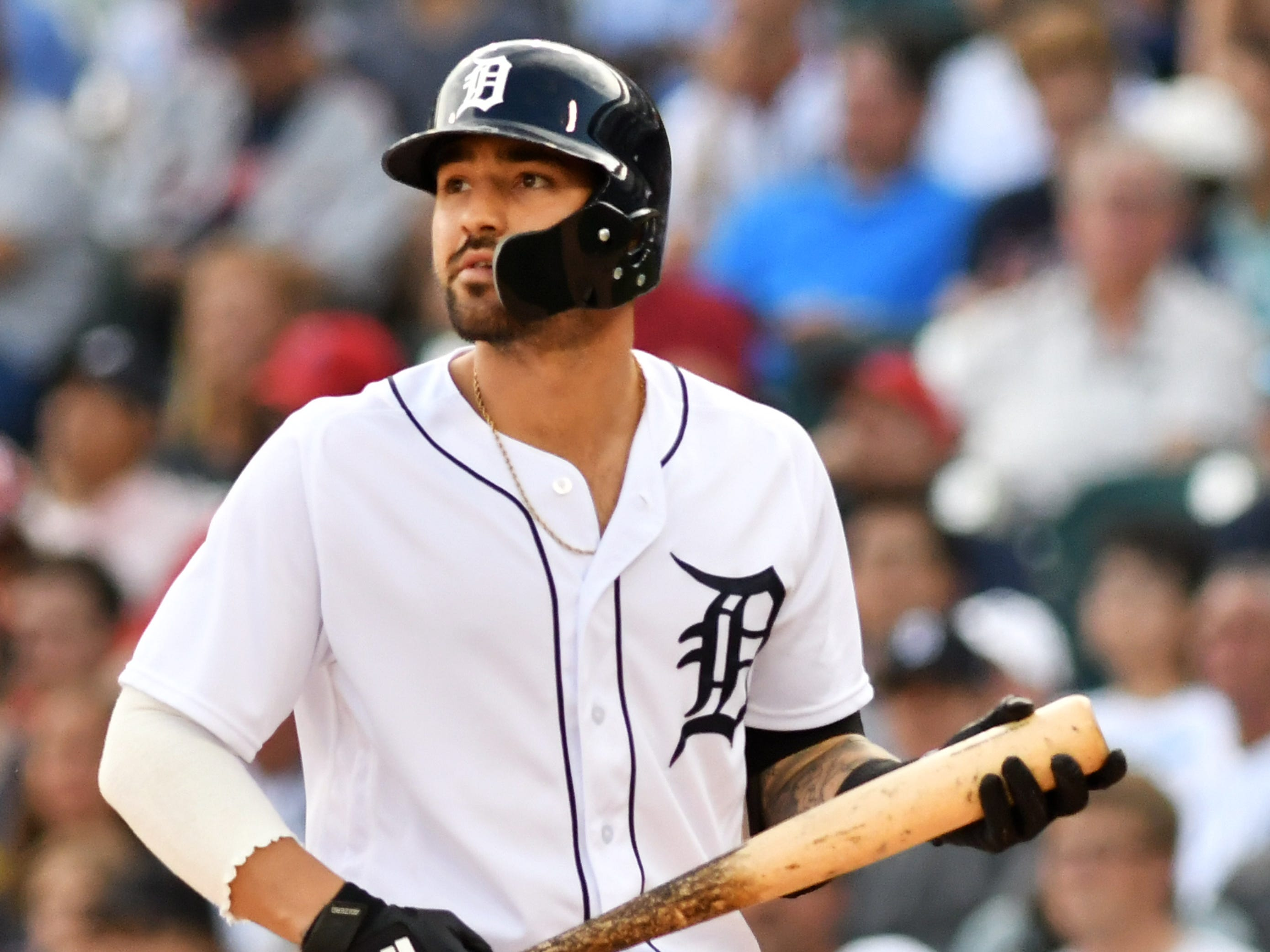 OUTFIELDERS: Nick Castellanos (.298/.354/.500), right field: His best offensive year comes when he has negligible protection in the lineup and teams often were pitching around him. Impressive. Fifty-six multiple hit games, 46 doubles (fourth in the American League), 185 hits (third in the A.L.), 23 home runs – he was in the top 15 in eight offensive categories. He hit .282 off breaking balls, .290 off fastballs and .377 off off-speed pitches. His .381 average off lefties is the best in baseball. His offensive WAR is 4.7. His defensive WAR, though, is minus-2.4. He remains a work in progress defensively.   Mid-term grade: B-plus.  Second-half grade: B-plus. Final grade: B-plus