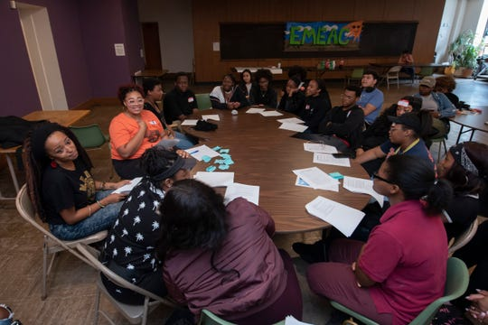 Detroit public school students attend class at the Cass Corridor Commons in Detroit, Wednesday. The students were purposely absent during count day at their regular school in protest of DPSCD not having an adequate plan to address lack of clean drinking water.
