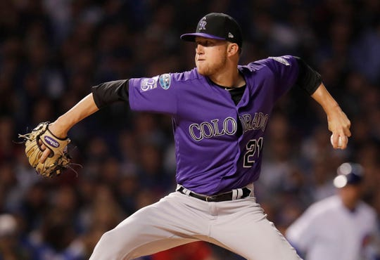 Oct 2, 2018; Chicago, IL, USA; Colorado Rockies starting pitcher Kyle Freeland throws a pitch against the Chicago Cubs in the 2018 National League wild card playoff baseball game at Wrigley Field.