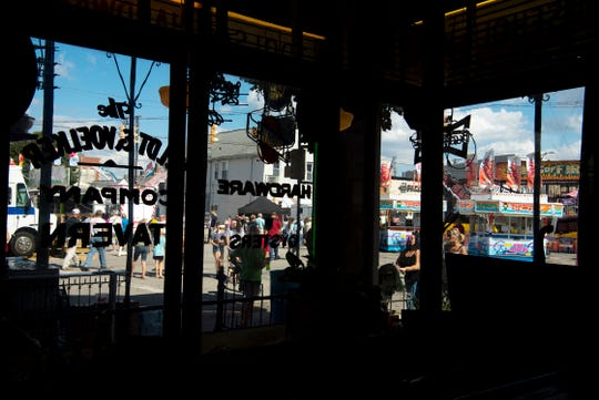 The West Side Nut Club's Fall Festival as seen through the windows of Gerst Bavarian Haus at 2100 W. Franklin Street Wednesday afternoon.