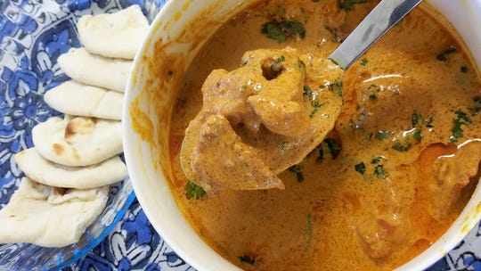 Butter chicken is a mild curry made with white meat chicken, spices, tomato, cream, and butter.