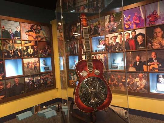 A Dobro guitar sits in the exhibit area of the Bluegrass Music Hall of Fame & Museum in Owensboro, Ky.