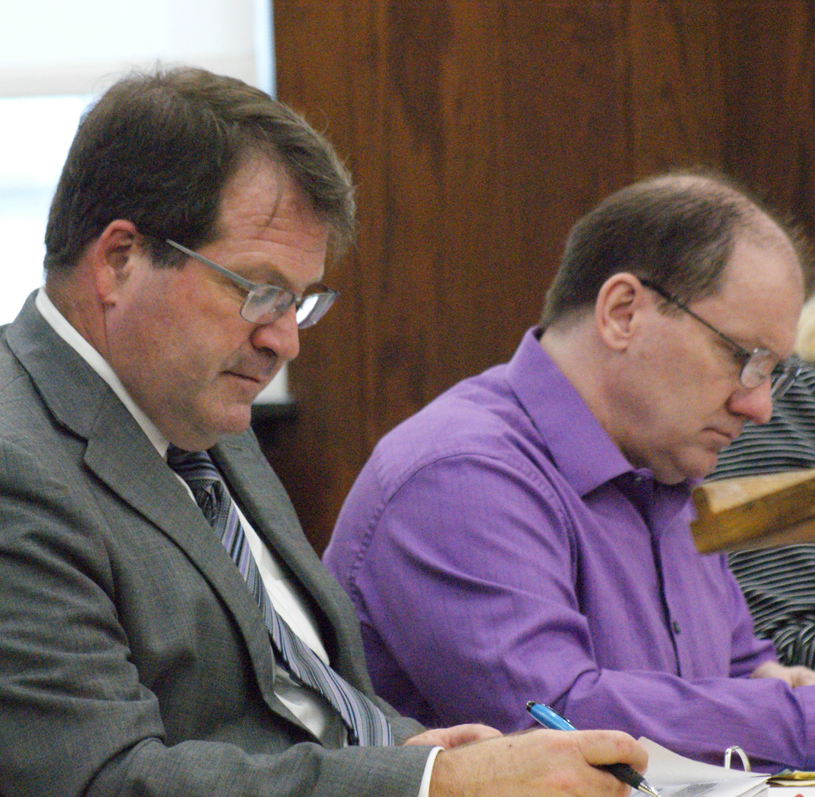 Attorney Merle Dech made objections Wednesday to possible jurors in the homicide trial of Daniel Myers, right.