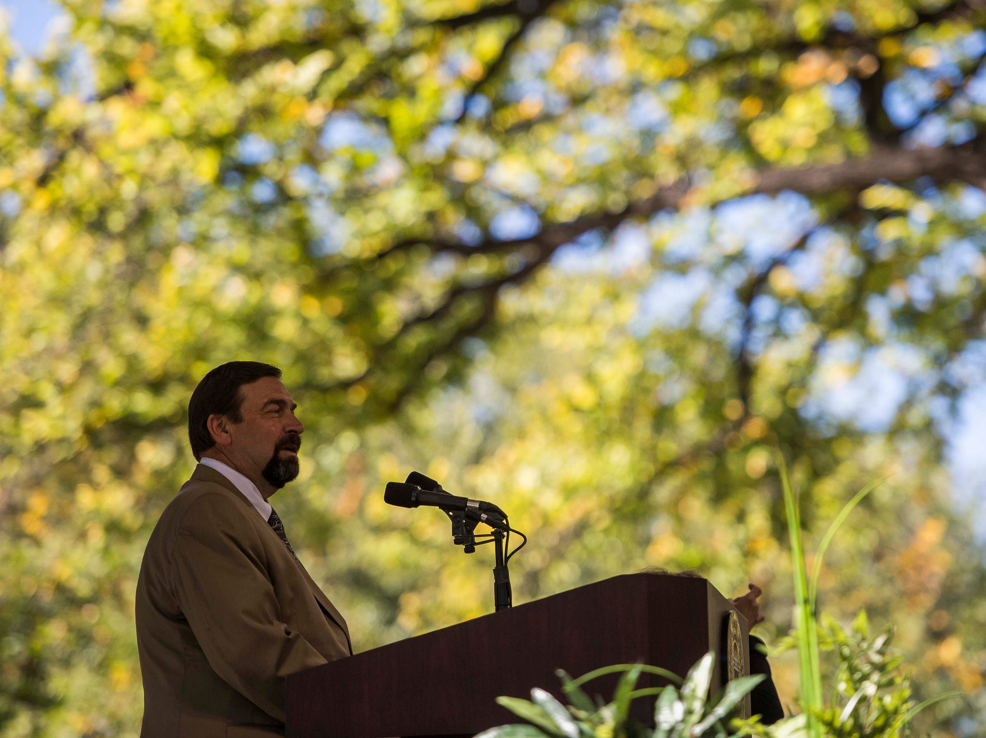 Colorado State University President Tony Frank speaks to an audience on Wednesday, Oct. 3, 2018, at the 2018 fall address on the CSU campus in Fort Collins, Colo.