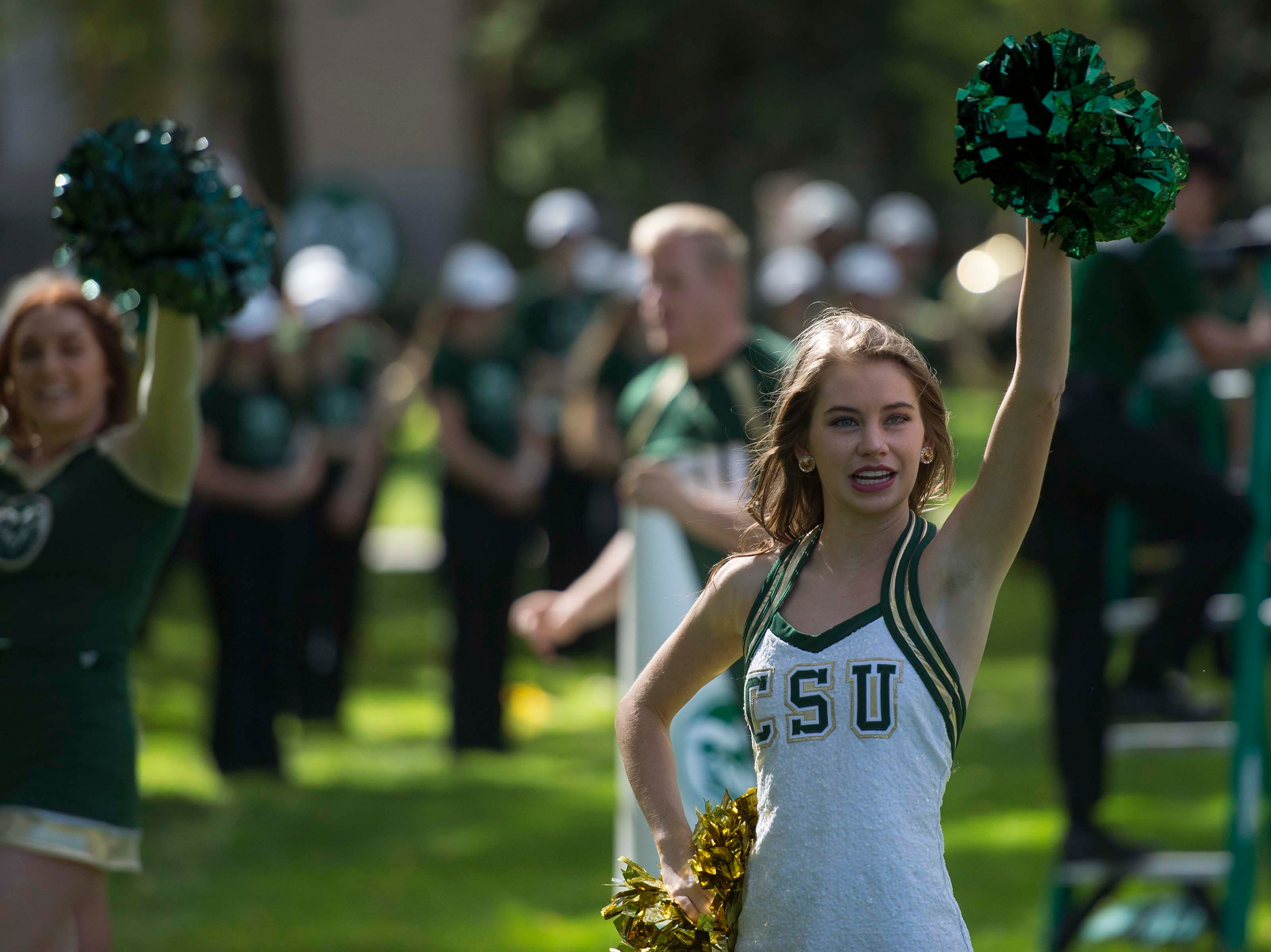 CSU cheerleaders perform at the 2018 fall address on Wednesday, Oct. 3, 2018, at the Colorado State University campus in Fort Collins, Colo.