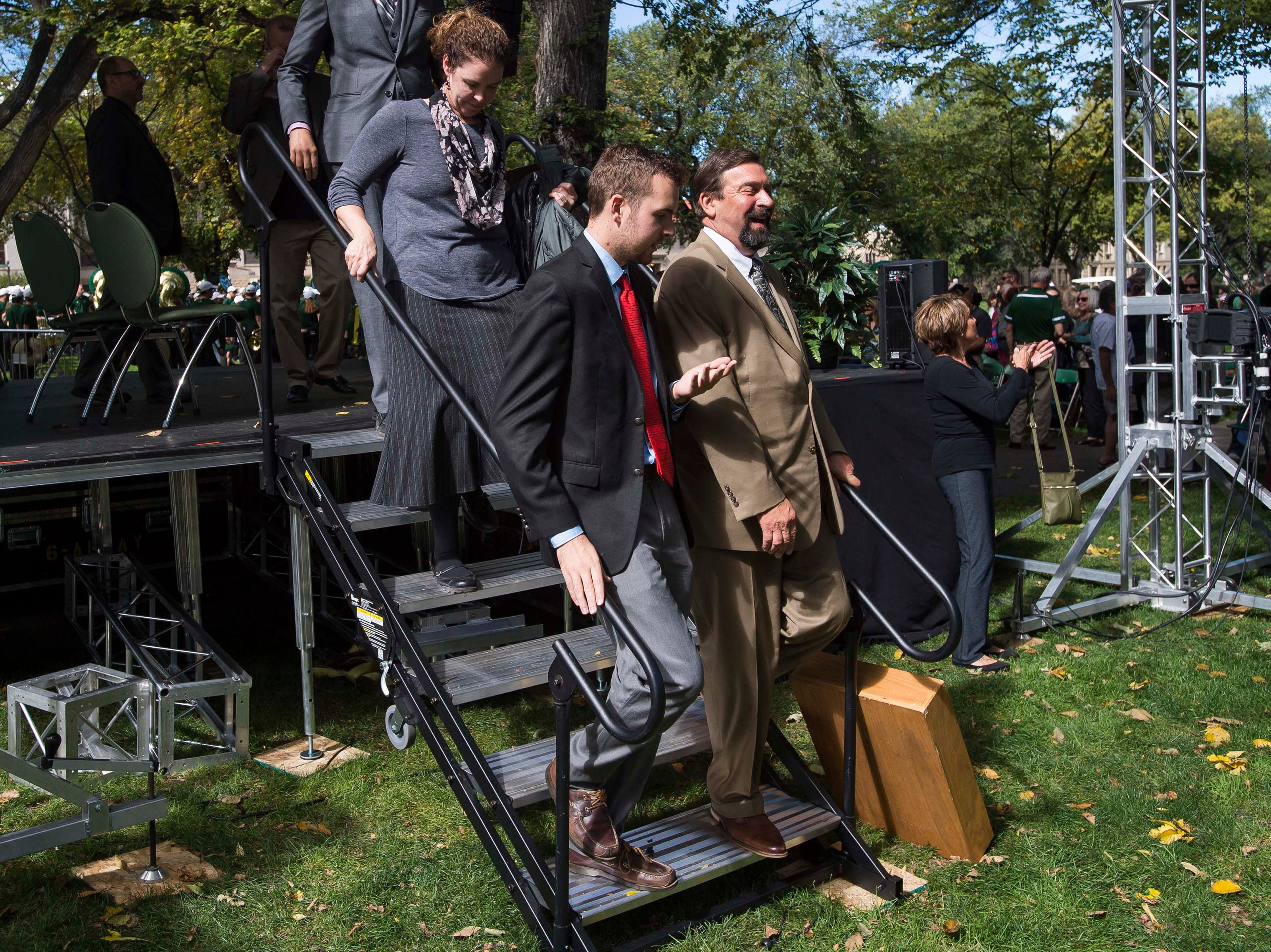 Colorado State University President Tony Frank leaves the stage after speaking to an audience on Wednesday, Oct. 3, 2018, at the 2018 fall address on the CSU campus in Fort Collins, Colo.