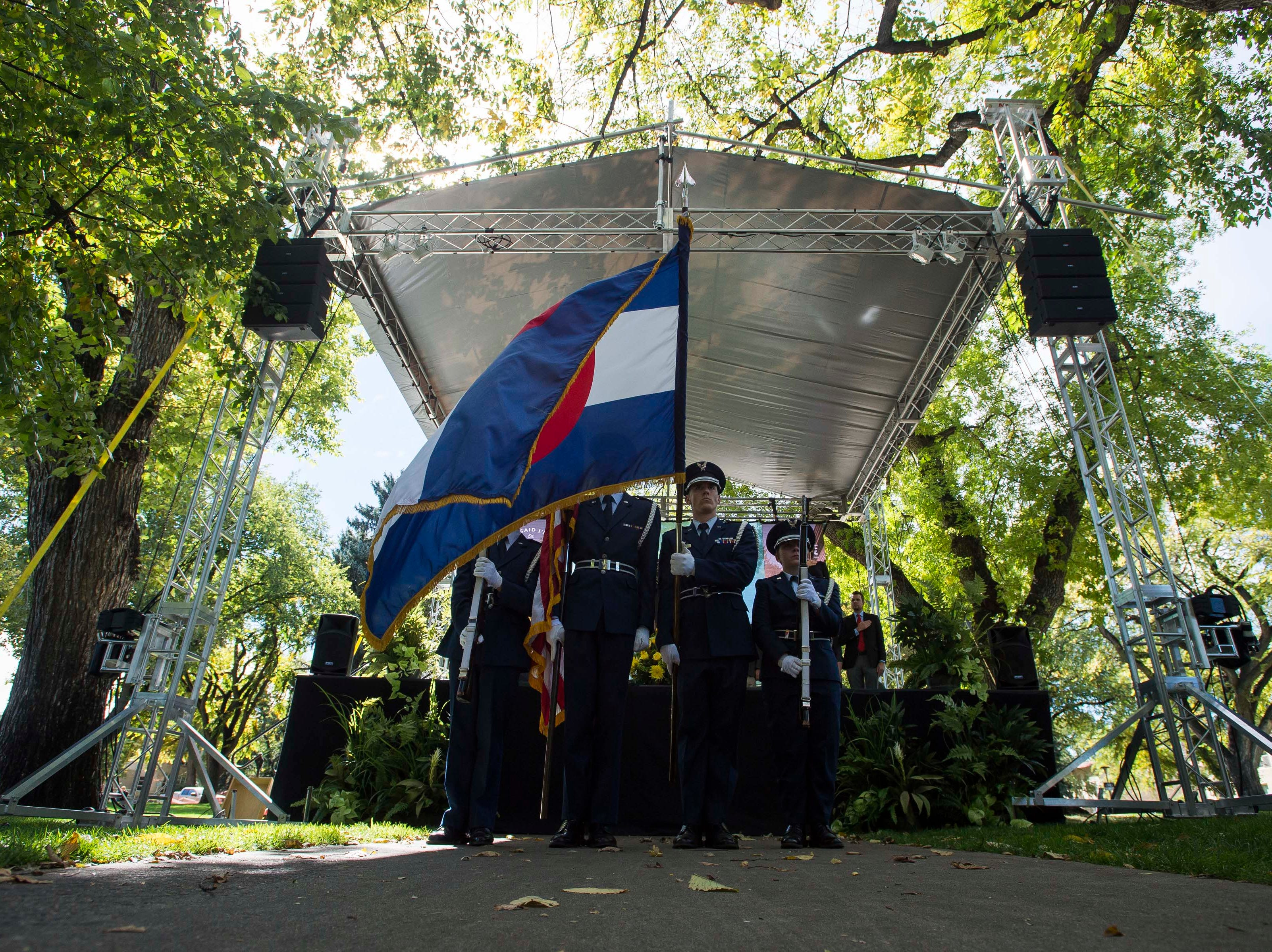 CSU color guards present the flags during the 2018 fall address on Wednesday, Oct. 3, 2018, at the Colorado State University campus in Fort Collins, Colo.