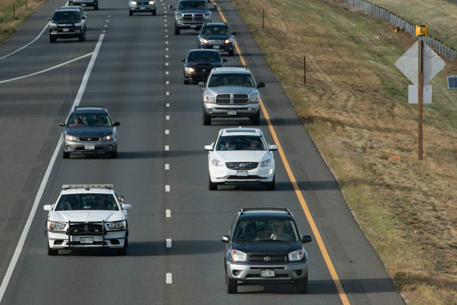 Traffic travels on I-25 near the Harmony Road interchange in this file photo. The interchange of I-25 and U.S. Highway 34 will be closed 9 p.m. to 5 a.m. Oct. 20-22 for bridge work.