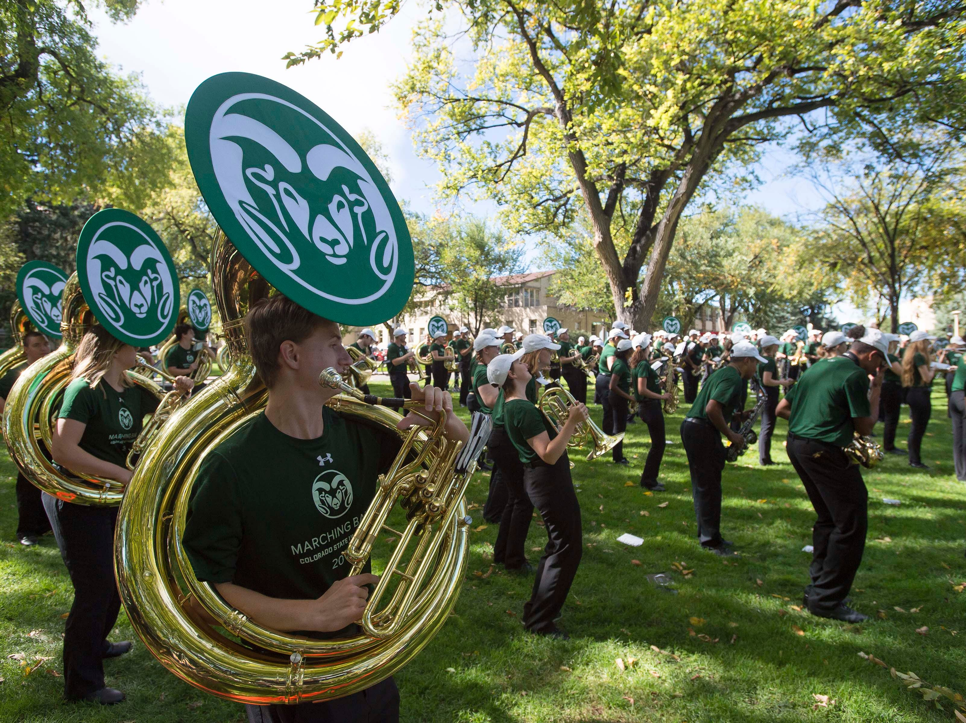 The CSU marching band plays before the 2018 fall address on Wednesday, Oct. 3, 2018, at the Colorado State University campus in Fort Collins, Colo.